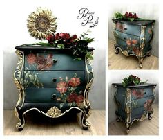 New painting wood furniture black bedrooms ideas Decoupage Furniture, Hand Painted Furniture, Funky Furniture, Refurbished Furniture, Paint Furniture, Upcycled Furniture, Shabby Chic Furniture, Furniture Makeover, Vintage Furniture