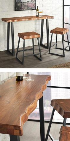 The Torrani Counter-Height Pub Set is ideal for small home or small spaces. Black metallic U-shaped legs bring out the stunning colors in the natural Cherry finish table top with a manufactured live edge, giving it its rustic and natural design. Pub Table Sets, Dining Room Sets, Dining Room Table, Kitchen Dining, Steel Furniture, Rustic Furniture, Outdoor Furniture Sets, Cafe Chairs And Tables, Mesa Metal