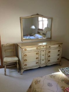 """Found on EstateSales.NET: Thomasville bedroom furniture set -  lovely dresser and mirror, plus a desk chair shown here.   The dresser is 60""""w x 20""""d x 34""""h. Mirror measures 48""""w x 37""""h.  All three are in perfect condition."""