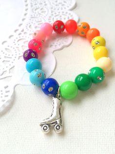 Trolls inspired, rainbow bracelet, rainbow jewelry, roller skate bracelet, SET of TEN. Trolls Birthday Party, Party Favors For Kids Birthday, Kids Bracelets, Personalized Note Cards, Little Girl Outfits, Kids Jewelry, Summer Sale, Bracelet Set, Antique Jewelry