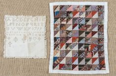 Patchwork doll quilt, 20th c., 16 1/2'' x 13 1/2'', with needlework sampler dated 1799 : Lot 830, Pook  Pook, Live Auctioneers