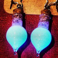 Blue Glow In The Dark Teardrop Glass Potion Earrings Alice In Wonderland Drink Me by GeekFreakBoutique, $24.50