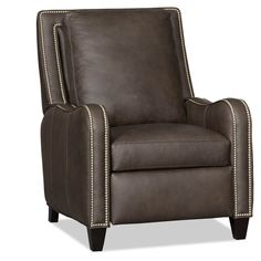 The Greco Leather Recliner comes standard finish and nails although you can choose from any of their wood and decorative nail finishes at no upcharge. This chair features a semi-attached back and HR foam seating. Power recline option is available at upcharge.