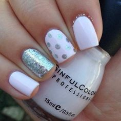 Easy Light Pink and Silver Nail Design