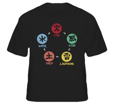 five basic element ninja shinobi world Fire-Wind-Lightning-Earth-water naruto T Shirt