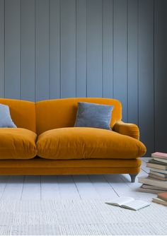 Loaf's Pudding sofa in Burnt Orange velvet. Seconds please!