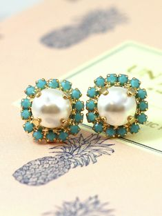Pearl Earrings Bridesmaids Stud Earrings Crystal Studs by iloniti on Etsy link to shop  http://etsy.me/1RhmOsw
