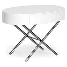 Have to have it. Coquille Modern Oval Coffee Table with Drawer - White $219.99
