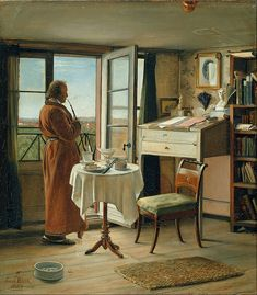 """Harry Wentworth in his writing studio.  """"He sat on a stool at his tall clerk's desk, with its slanted top and built-in inkwells that Harry ignored for now-far-too-full bottles, kicking himself for stalling on the book he needed to write. The book he had been thinking of writing since before he'd decided to become a writer.""""  --Blind Tribute by Mari Anne Christie"""
