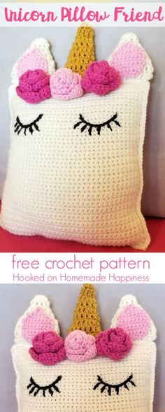 Crochet Diy Unicorn Pillow Friend Crochet Pattern - This sweet Unicorn Pillow Friend Crochet Pattern is the perfect huggable size and looks so pretty sitting on a bed or shelf. It's a great amigurumi beginner project Crochet Diy, Crochet Home, Love Crochet, Crochet For Kids, Crochet Cushions, Crochet Pillow, Blanket Crochet, Crochet Granny, Crochet Mignon