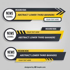 Several lower thirds with yellow details Free Vector Game Ui Design, Layout Design, Web Design, Logo Design, Letterhead Design, Brochure Design, Banners, Lower Thirds, Banner Template