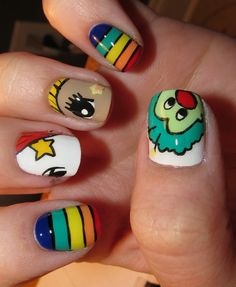 Rainbow Brite Nail inspiration I wonder if they would do this at the salon.... Idomydesign.....lol kt knows