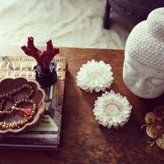 loving these point crystal quartz lotus votive holder on my coffee table - apartmentf15 photo