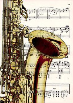 FREE SHIPPING WORLDWIDE - Saxophone on a Vintage 1900 Music Sheet. $10.00, via Etsy.