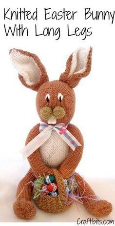 Knitted Long Legged Easter Bunny