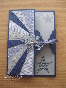 hanmade card ... sunburst panel with blue patterned papers  ... partial front design ... great card!
