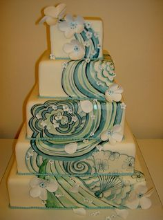 Surfer wedding cake perfect for the beach setting! Gorgeous Cakes, Pretty Cakes, Amazing Cakes, Wedding Cake Designs, Wedding Cakes, Wedding Ideas, Wedding Inspiration, Design Inspiration, Design Ideas