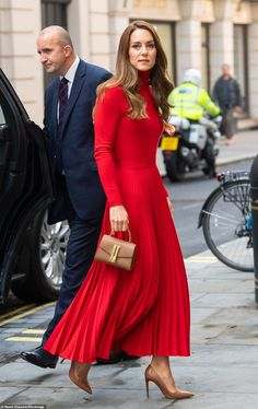 Kate Middleton, 39, donned a pleated skirt and matching fitted top for the event in London hosted by drug and alcohol dependence charity The Forward Trust, of which she is patron.