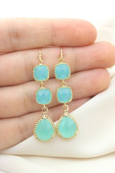 Mint Green / Gold Three Piece Rope Rim Earrings by ForTheMaids