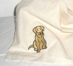 Labrador Tea Towel  Embroidered Dog Motif by Dotcolour on Etsy, £7.00