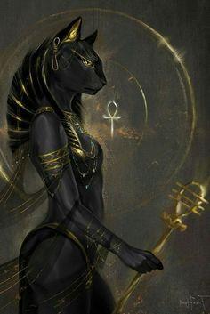 Bastet Goddess, Egyptian Cat Goddess, Egyptian Cats, Egyptian Mythology, Goddess Art, Ancient Egyptian Deities, Ancient Egypt Art, Ancient History, Art History