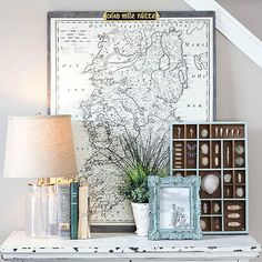 This home blogger shows us how to find, save and print print old-fashioned maps. View her easy tutorial here: http://www.bhg.com/decorating/do-it-yourself/accents/DIY-decor-that-looks-like-the-real-deal/?socsrc=bhgpin101715vintagemap&page=6