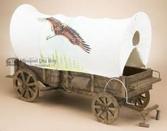 Western Covered Wagon Hand Painted - Eagle/Horse (w10)