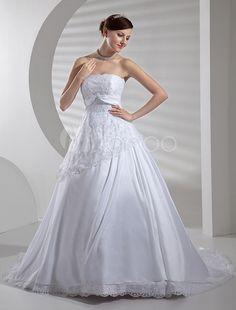 #Milanoo.com Ltd          #Wedding Dresses          #White #Applique #Satin #Lace #Wedding #Dress       White Applique Satin Lace Wedding Dress                                       http://www.snaproduct.com/product.aspx?PID=5684240