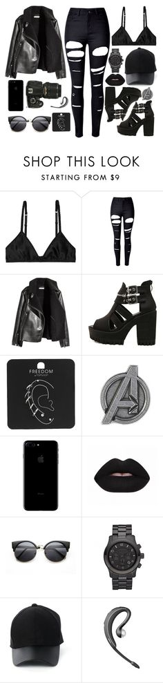 """""""Team Cap"""" by misfitfallout ❤ liked on Polyvore featuring Monki, WithChic, Nikon, Topshop, Michael Kors and Amiee Lynn"""