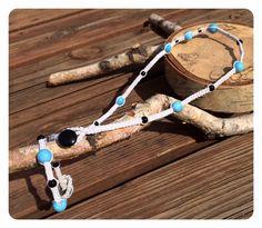 Knotted Necklace Bracelet Set-Blue and Black Beaded White Necklace and Bracelet-Jewelry Set-Macrame Necklace Bracelet jewelry set-Homemade.