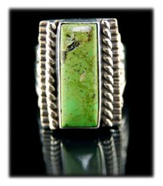 Gaspeite And Sterling Silver Ring - top grade natural Gaspeite in a sterling silver ring by Navajo Artist Ben Yazzie