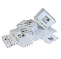 Das Design der Versandkartons von @biocornflakebox ist voll App-gefahren. Der Onlineshop weist unübersehbar auf seine Apps hin.  #GetYourBoxPrinted #versandbox #onlinedruckerei #kundendesign #bio #flakes #qrcode