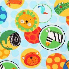 light blue animal dot fabric Robert Kaufman Jungle Creatures
