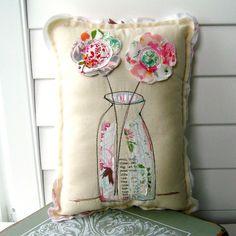 Flower Pillow,  Soft Sculpture, Flower Vase pillow , Stitched Flower Pillow,  Fabric flowers, Fabric Scrap Pillow  - No. 167