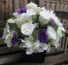White and purple centerpiece . by ArtiFlora on Etsy