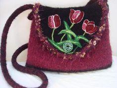 felted tote, felted purse, felted handbag, fiber art, wearable art, needle felt art,felt,,tulips,www.feltedfantasies.com