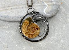 Ammonite pendant fossil necklace elegant statement by OrioleStudio