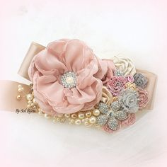 Rose Gold Sash Dusty Rose Champagne Gray Gold Beige by SolBijou