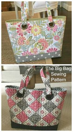 The Big Bag tote sewing pattern - Sew Modern Bags BIG Tote bag sewing pattern. The Big Bag tote sewing pattern - Sew Modern Bags BIG Tote bag sewing pattern. This large tote bag is easy to sew and full instruction are provided. The quilting keeps th Bag Sewing Pattern, Bag Patterns To Sew, Sewing Patterns Free, Quilted Bags Patterns, Wallet Pattern, Big Tote Bags, Purses And Bags, Totes And Bags, Diy Totes