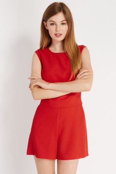 Sale Of The Day, Oasis Uk, Must Have Items, New Shop, Playsuits, Summer Wardrobe, Cap Sleeves, Red Colour, Rompers