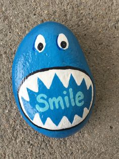 Smile. Hand painted rock by Caroline. The Kindness Rocks Project