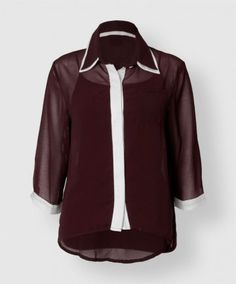 This boyfriend shirt is perfect for the office or everyday wear. Made of shear maroon polyester the shirt is designed like a mens dresshirt with a fashionable double collar, breast pocket and buttoned cuffs. The shirt is trimmed with white polyester for contrast. The buttons are covered with a strip of white fabric for a clean modern look.