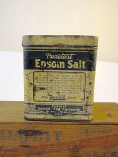 Antique Epsom Salts Tin United Drug Vintage Tin Rusty Crusty