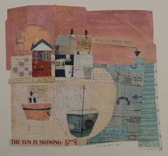Elaine Hughes  A collection of unique hand and machine stitched paper collages incorporating drawing, textiles and vintage ephemera