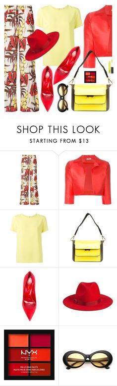 """""""Untitled #2294"""" by shoaleh-nia ❤ liked on Polyvore featuring P.A.R.O.S.H., Marni, Sergio Rossi, NYX and MAC Cosmetics"""