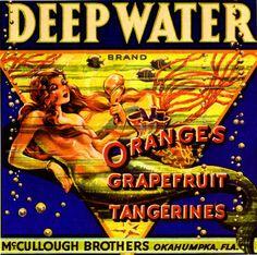 Okahumpka Florida Deep Water Mermaid Orange Citrus Fruit Crate Box Label Art Print. $9.99, via Etsy.