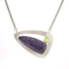 Moyer Jewelers: Jamie Bauman Creations - STERLING SILVER SUGILITE AND PERIDOT FRAME PENDANT NECKLACE  $495
