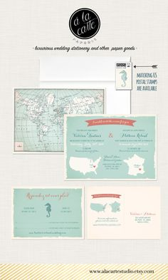 Bilingual Destination wedding invitation RSVP by alacartepaperie