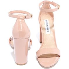 Steve Madden Carrson Blush Patent Ankle Strap Heels (€80) ❤ liked on Polyvore featuring shoes, heels, steve-madden shoes, ankle tie shoes, heel pump, steve madden and steve madden pumps