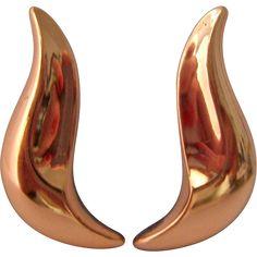 Renoir Copper Clip Earrings Simple Flowing Design. Vintage Jewelry under $25 at Ruby Lane @Ruby Lane